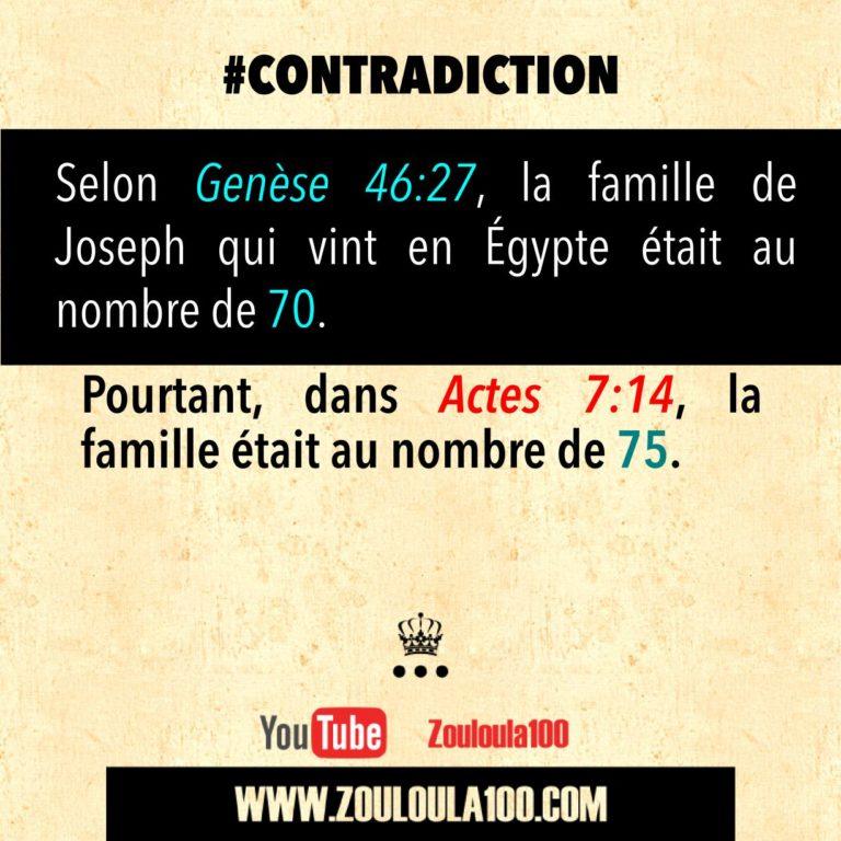 Genèse 46:27 vs Actes 7:14