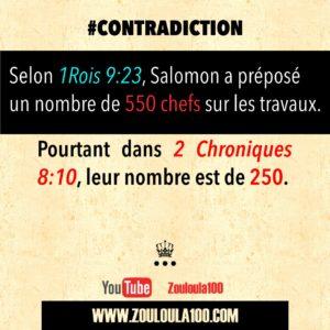 1 Rois 9:23 vs 2 Chroniques 8:10